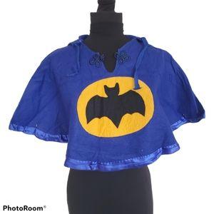 Vintage Handmade Childs Felt Batman Cape Poncho